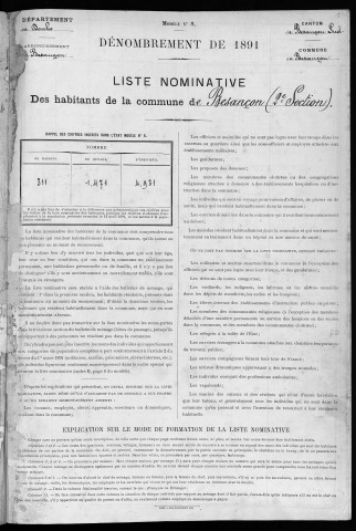 Population - Dénombrement de 1891 : 2° section