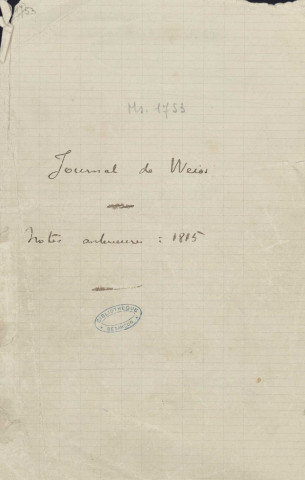 Ms 1753-1754 - Journal de Charles Weiss