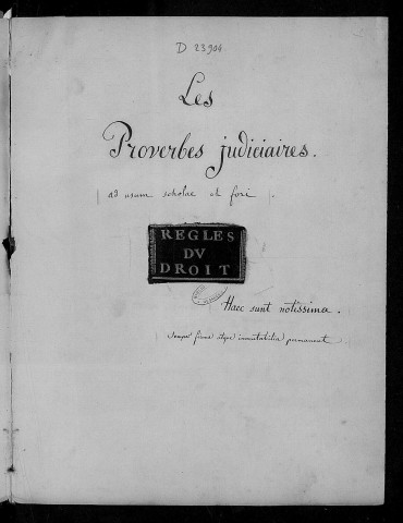 Charles Thuriet. Les Proverbes judiciaires