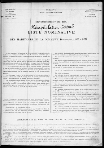 Population - Dénombrement de 1936: 1ere section